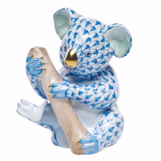 Herend Porcelain Fishnet Figurine of a Koala Cub with Twig